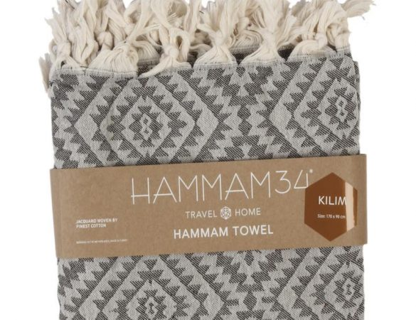HAMMAM 34 Kilim Towel (Black)